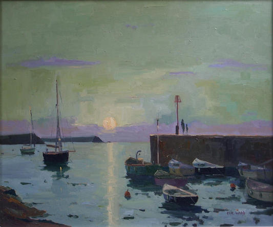 Harvest Moon at Portscatho 20x24 inches oil on canvas