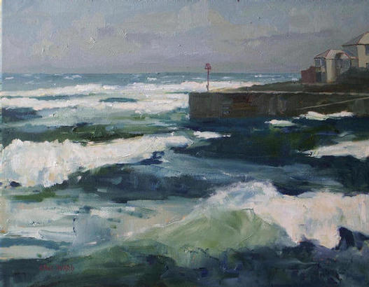 S.E Gales at Portscatho 16x20in oil on canvas