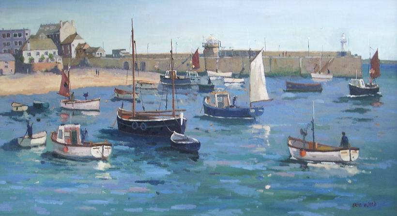 St ives Harbour 18x31inches oil on panel