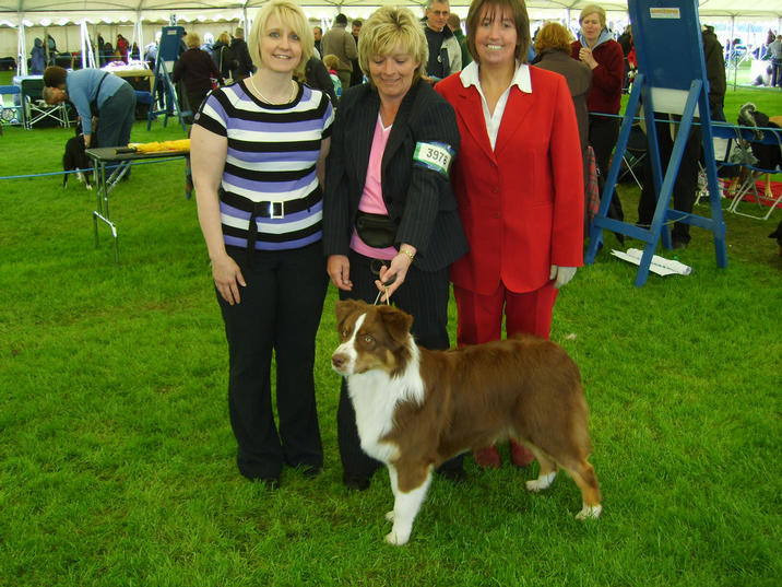 ROBBIE MORAG & GLYNIS SEEN HERE WITH BREED JUDGE JAYNE HOLLIGAN AT SKC 17TH MAY 2008