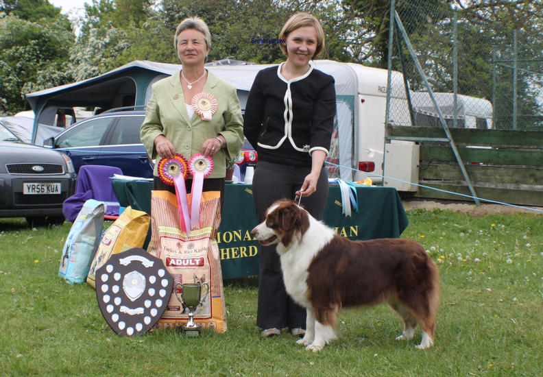 "Ozzypool Eternal Flame ""flame""with Judge Carol Turner & handler Jayne Clegram at NASA Open show 7/5/11 BIS"