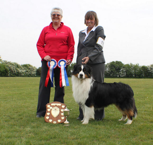 Jacob with Jean & Glynis With his Rossettes from ASCUK Best dog at Champ Shows & Best Puppy at Champ & Open Shows 2010