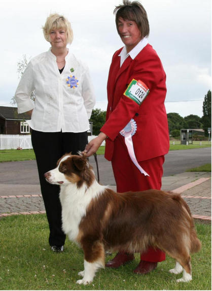 OZZYPOOL ETERNAL FLAME WITH JUDGE PENNY RICHARDS AFTER WINNING BPIB  AT NATIONAL W& P BREEDS JULY 08