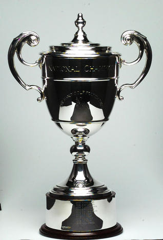 The maghificent solid silver National Champioship Trophy