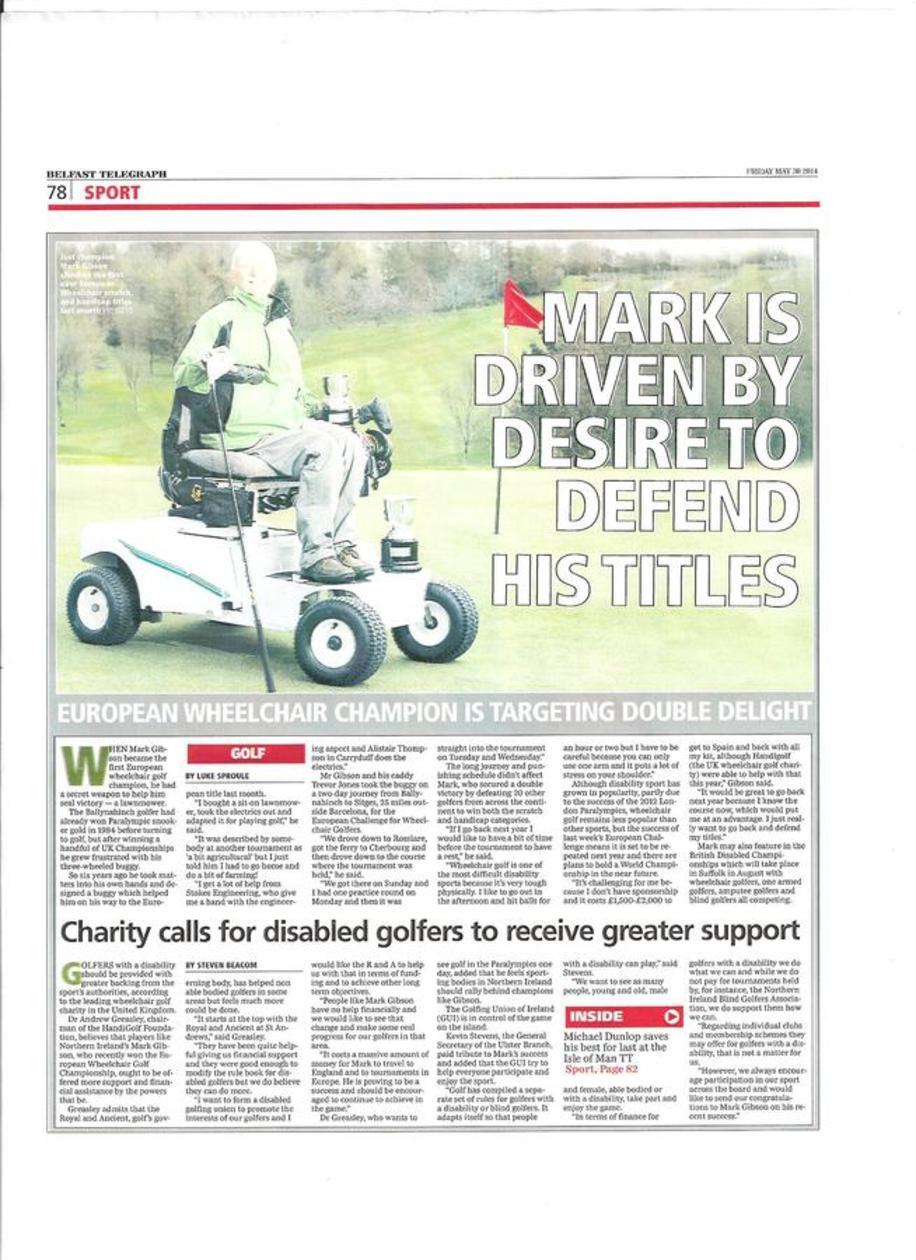 Mark Gibson European Wheelchair Golf Champion