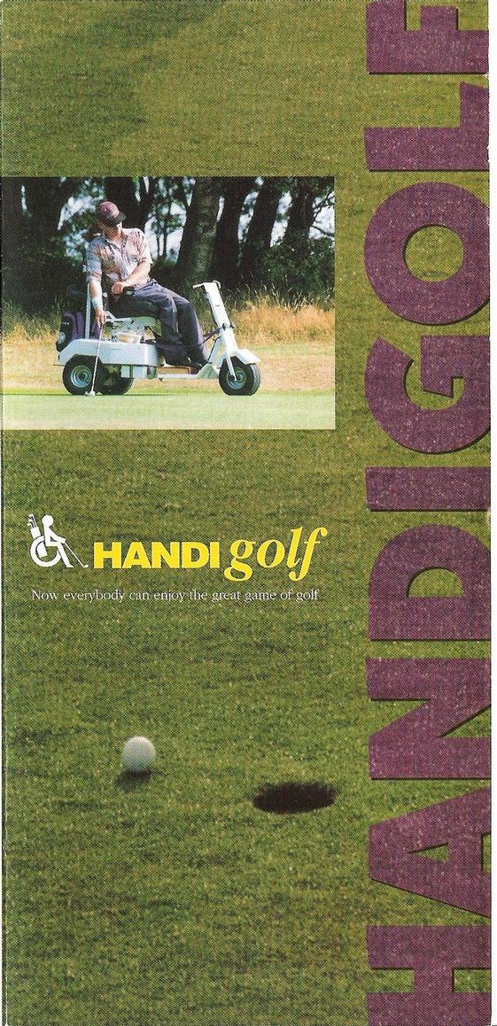 Derek Burt an accomplished one handed paraplegic player on a Velden three wheel buggy