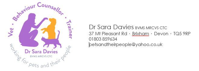 The business logo for Dr Sara Davies BVMS MRCVS CTC - vet, behaviour counsellor & trainer 'working for pets and their people' - and contact information: 37 Mt Pleasant Rd, Brixham, Devon, TQ5 9RP; 01803 859634; petsandtheirpeople@yahoo.co.uk