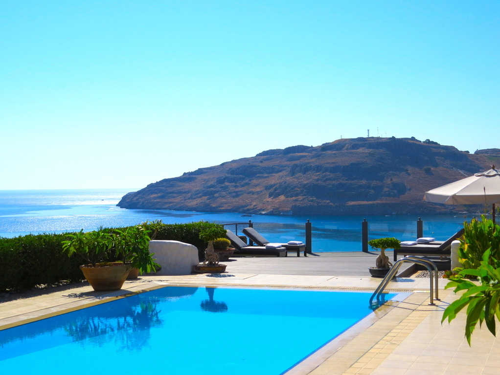 The views from the pool terrace, across Vlicha Bay, at Villa Lindos Kalliopi