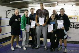 Coach Adrian Fleming, Jonny Brown, Michael Connor, Michael Grayson, Kerry Kayes, Sean Connor & Ben Grimshaw