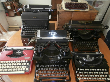a selection of vintage typewriters