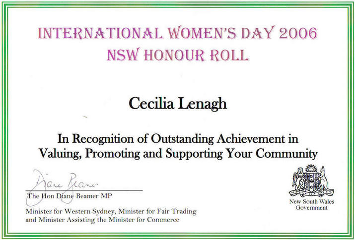 International Women's Day Honour Roll Certificate