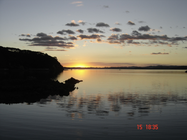 sunset at Kawau Island