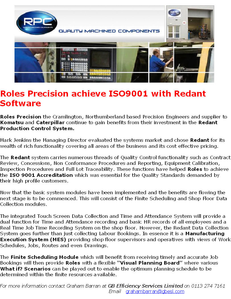 Redant Software in use at Roles Precision