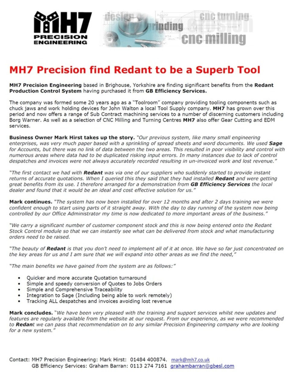 Redant Software in use at MH7 Precision