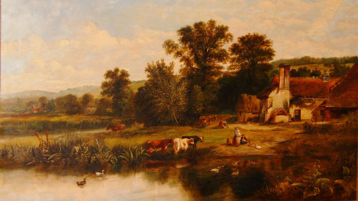 WG Meadows Cattle by river 1860