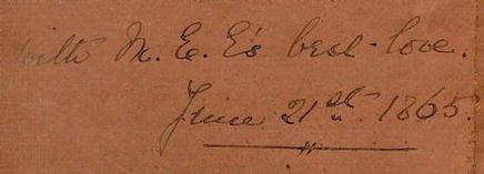 Mary Ellen Edwards autograph 1865