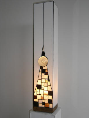 Light with clear glass stone set in neutral squares