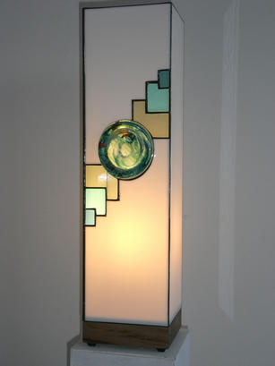 light with turquoise glass stone set in line of grey/blue/turquoise squares