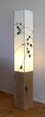 pebble light on tall oak base