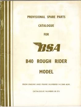 BSA Rough Rider parts book