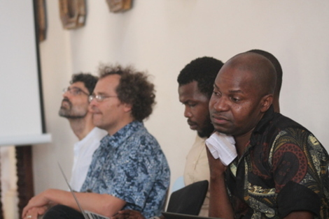With colleagues at a writing workshop at Universidade Lurio, Ilha de Mocambique