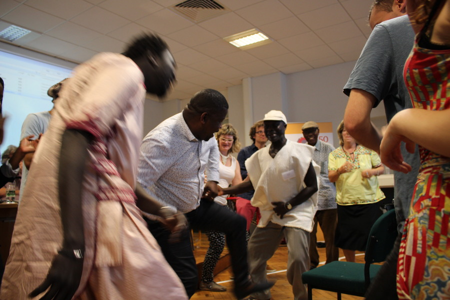 Dancing after one of the sessions at the Greater Senegambia Workshop