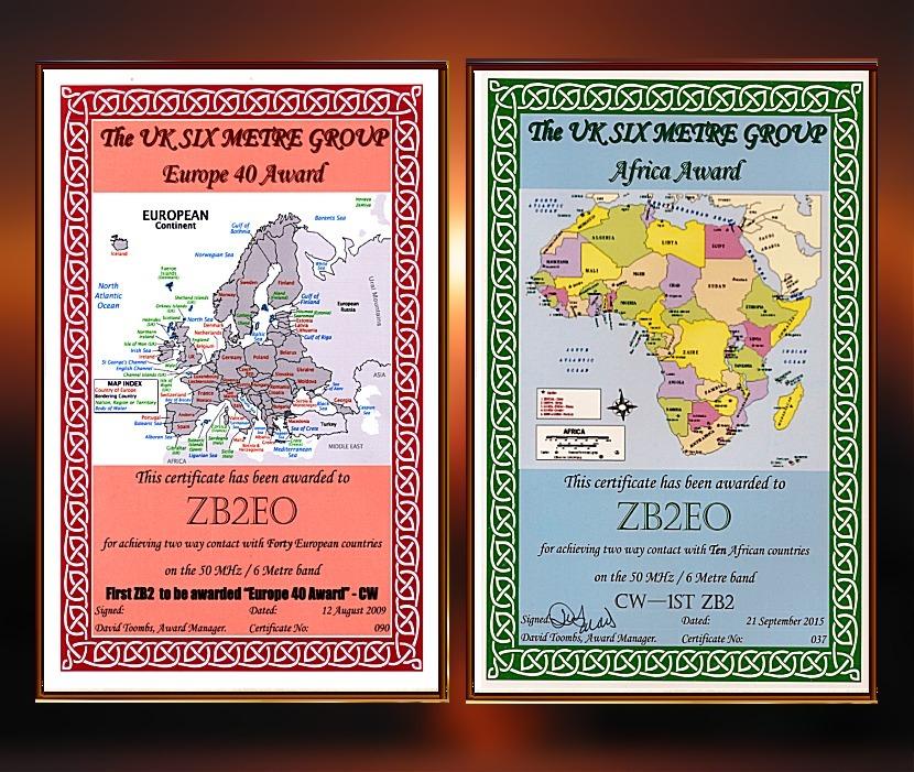 UKSMG 50MHz EUROPE & AFRICA AWARDS