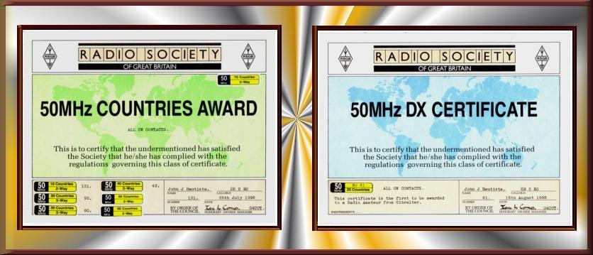 RSGB 50MHz Awards
