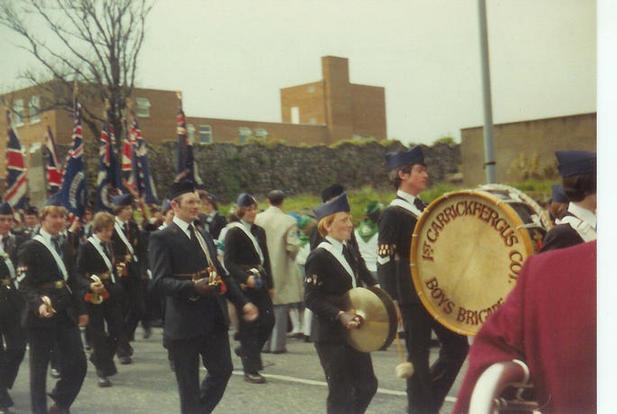 Fred Rodgers with the 1st Carrickfergus Bugle Band, circa 1980/81