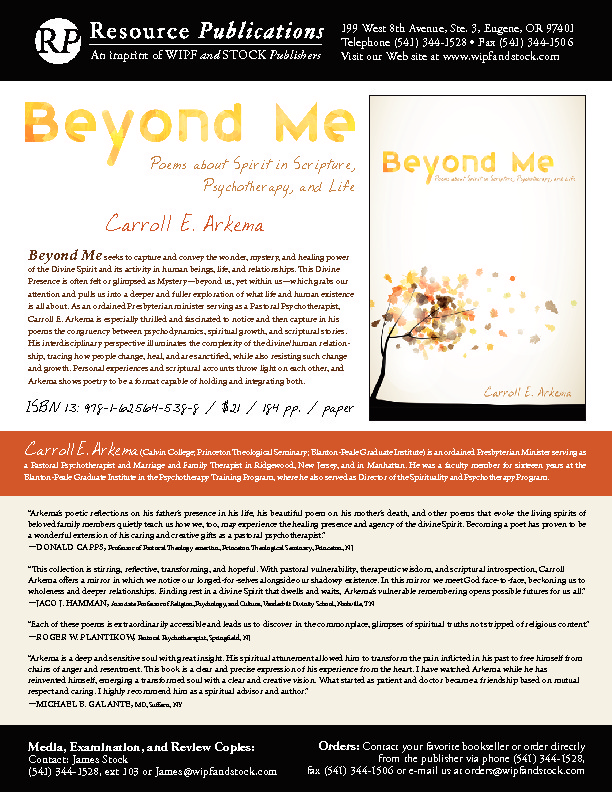 Flyer about my book Beyond Me