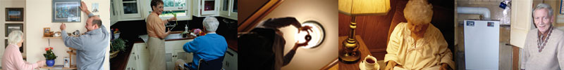 Handy person services helping senior citizens with hanging pictures, changing light bulbs etc