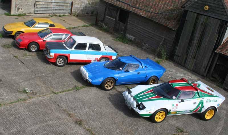 Car line-up TR7 Alpine Simca Stratos Stratos
