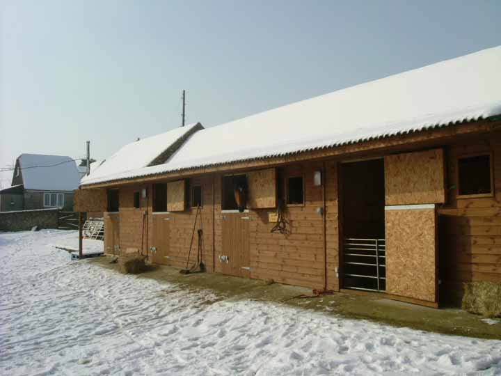 Stables in the snow