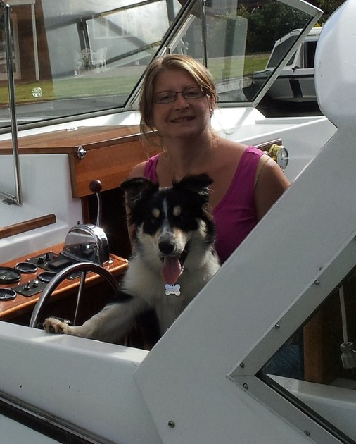 Darcy enjoying her boating holiday
