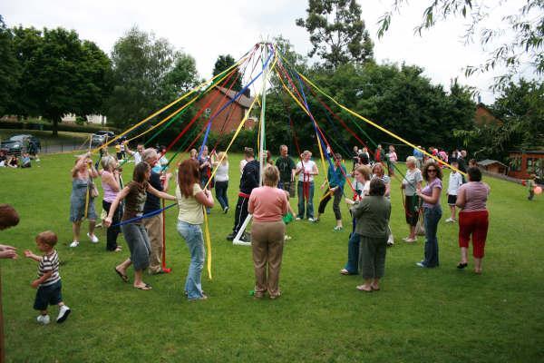 Maypole dancing at the school fete