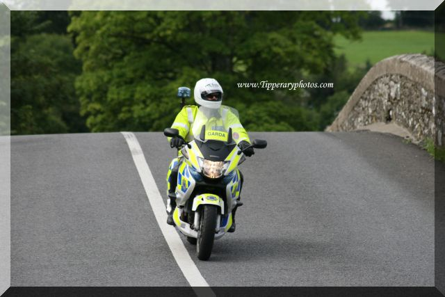 Garda motorcycle on Knocklofty Bridge