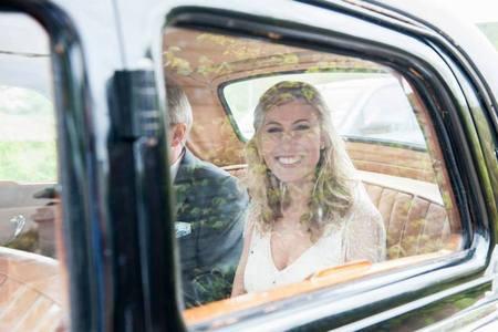 Hannah through the car windows