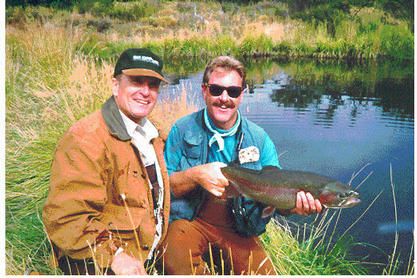 "Robert Duval  and Mark Daly filming ""Fly Fishing the World"""