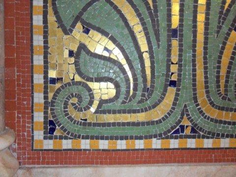 Damaged tile mosaic