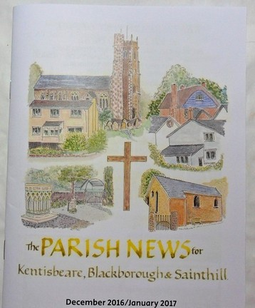 Parish magazine cover painting with lettering