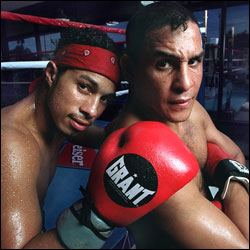 "Hector ""Macho"" Camacho (right) and son Hector, Jr."