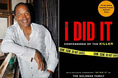 OJ standing next to advertisement of book opening