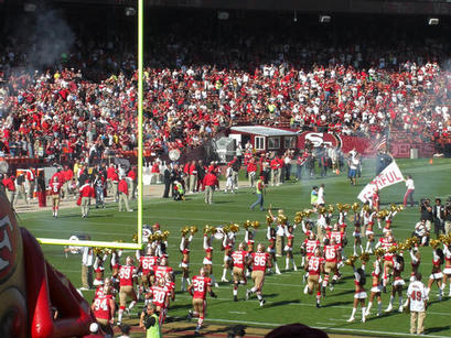 SF49ers running out before the match begins