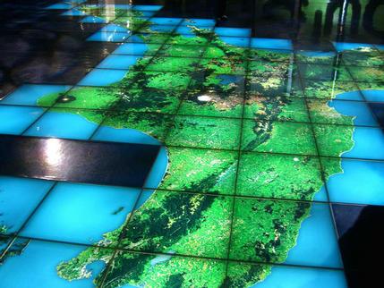 Satellite view of North Island at Te Papa Museum, Wellington