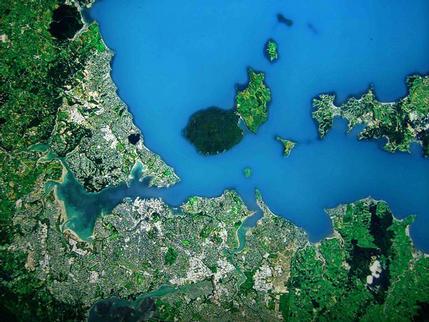 Satellite view of Auckland at Te Papa Museum, Wellington