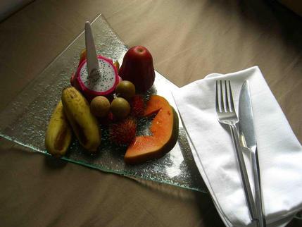 Plate of local fruit, The Quay Hotel, Phnom Penh