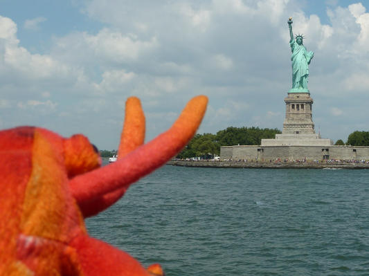 On a boat trip to see the Statue of Liberty