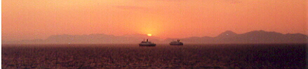 picture of ferry boats in sunset