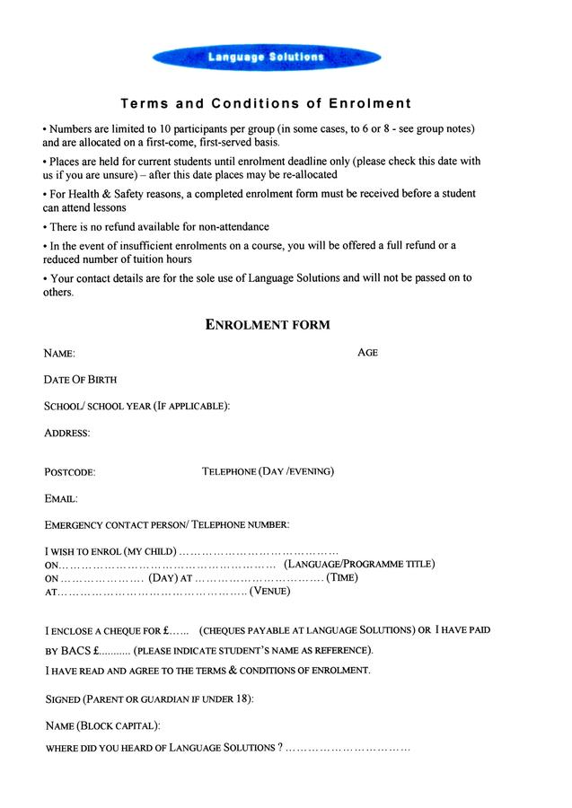 terms and conditions with enrolment form