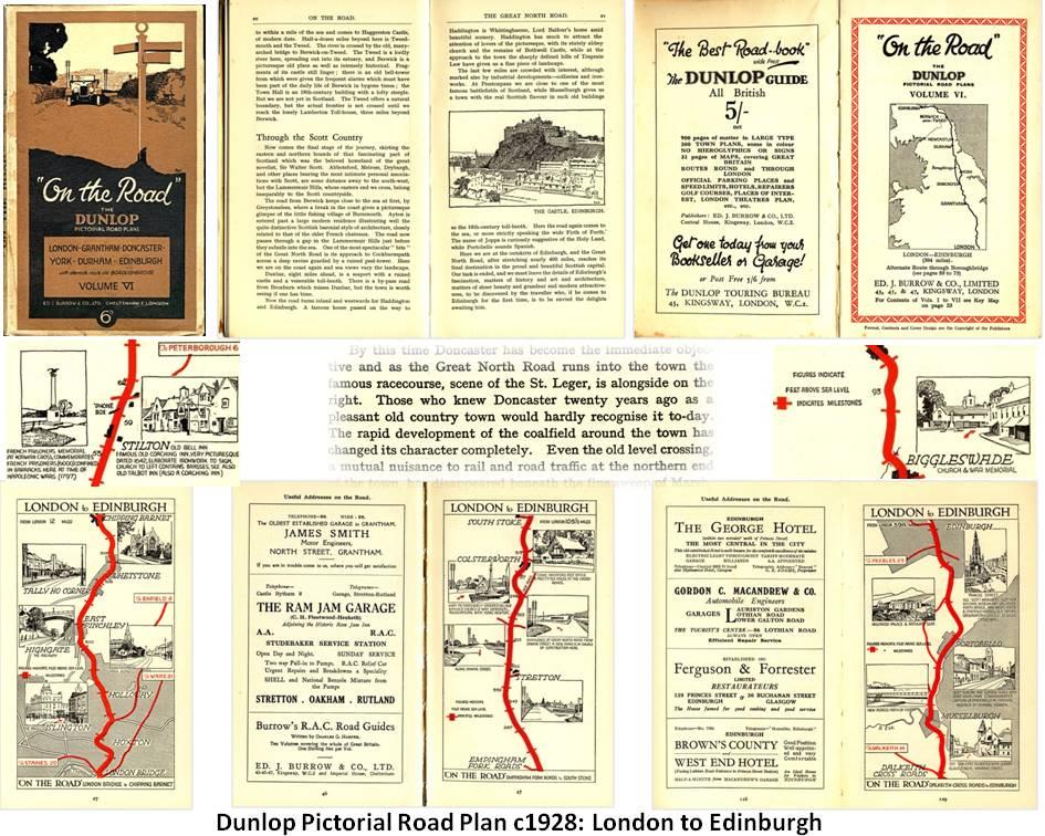 Dunlop map guide - London to Edinburgh
